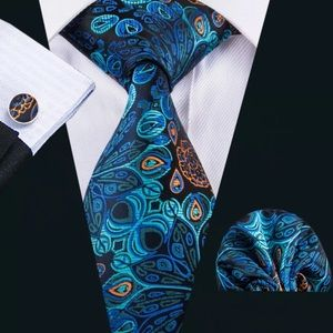 Men's Silk Coordinated Tie Set- Peacock Blue